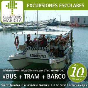 excursión escolar bus + tranvia + barco