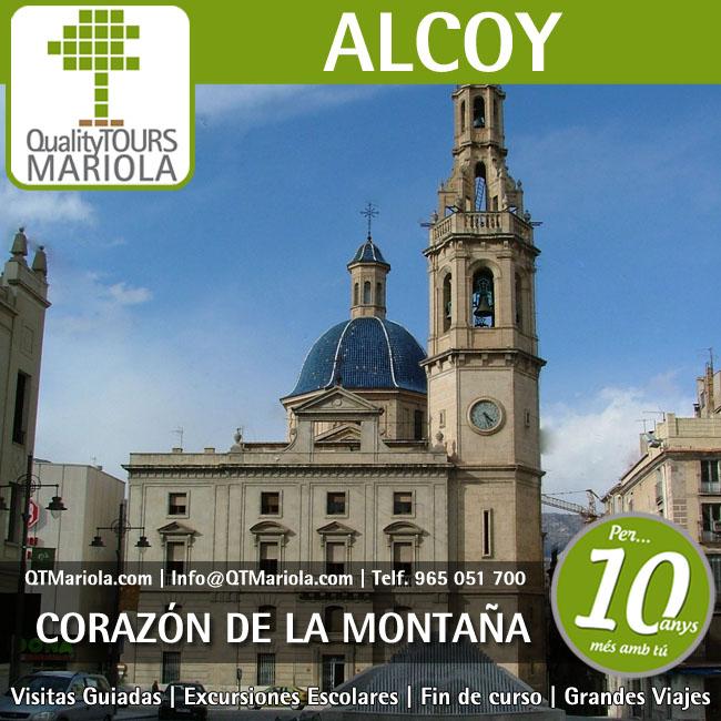 visita guiada alcoy, excursion escolar alcoy, iglesia de Santa Maria