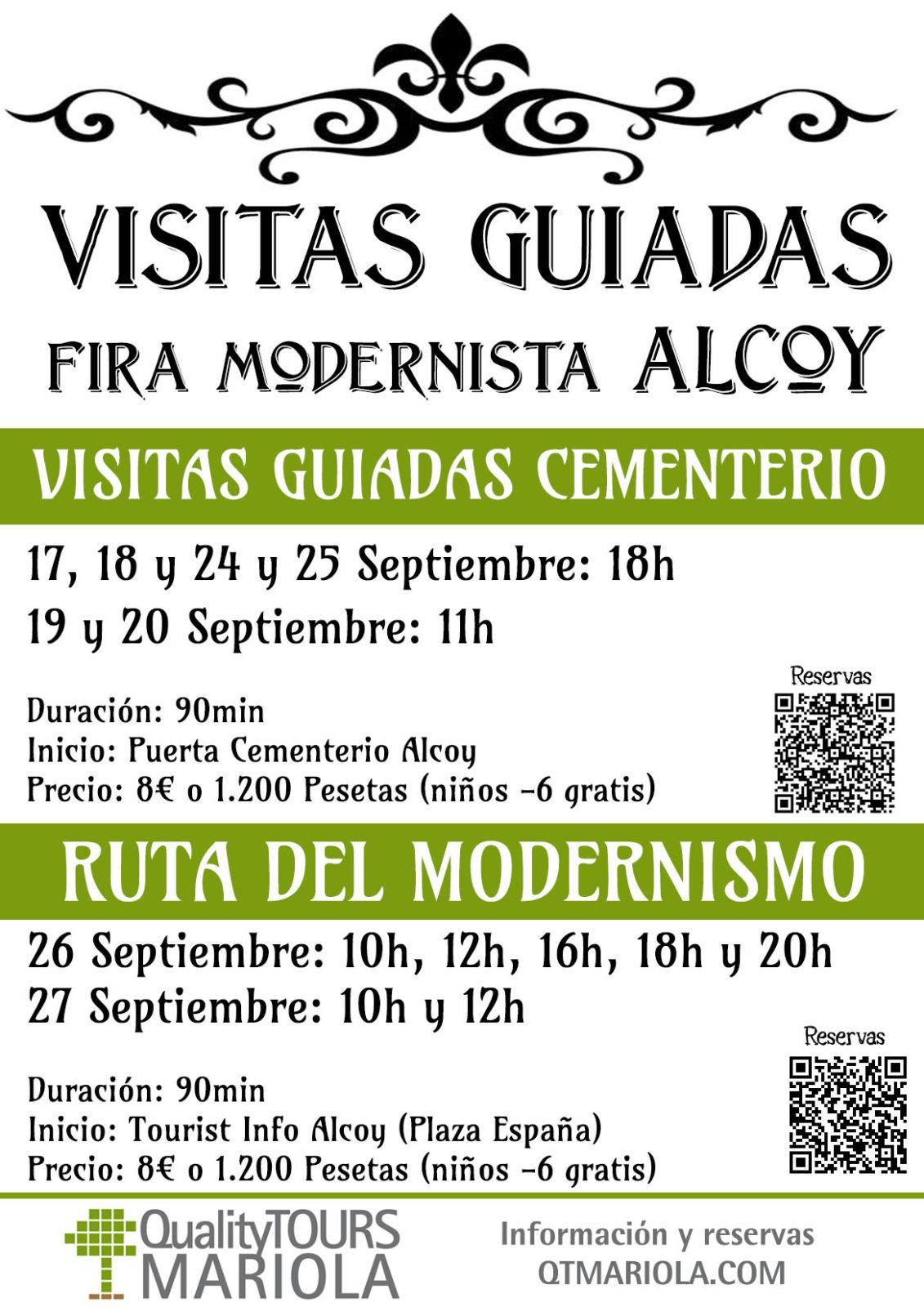 Visitas guiadas cementerio y ruta modernismo alcoy durante feria modernismo